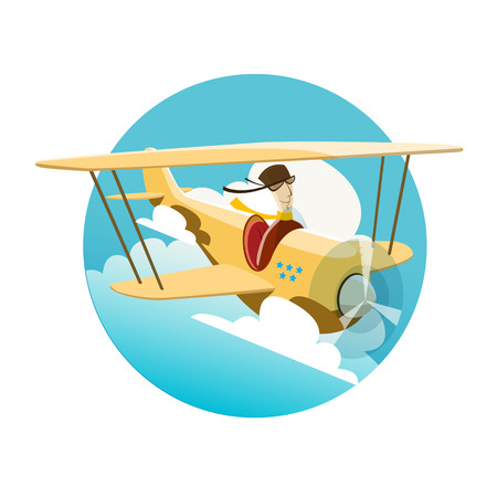 Vector illustration of pilot flying by an airplane. EPS 10 file Vector