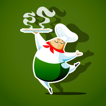 主なコック イタリアのおいしいピザを提供します。EPS 10 ファイルです。