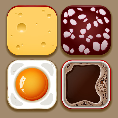fried egg: Set of food icons vector