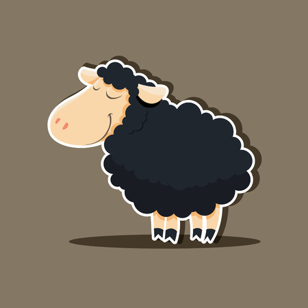 small flock: Vector black cute sheep isolated