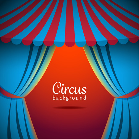 red and blue: Vector circus background with open tent. EPS 10 file.