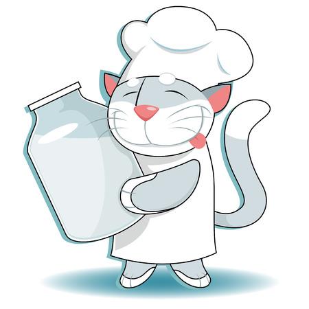 milk mustache: Vector illustration of  Funny cat with milk