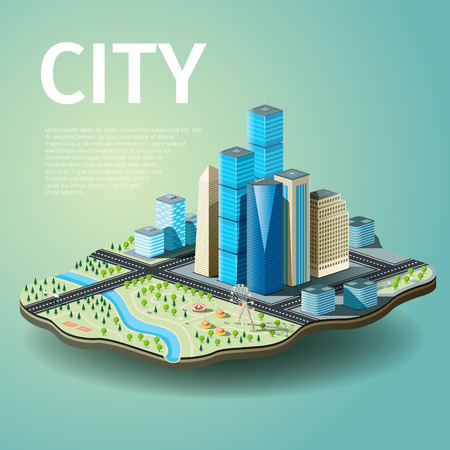 Vector illustration of city with skyscrapers and amusement park. EPS 10 file Çizim