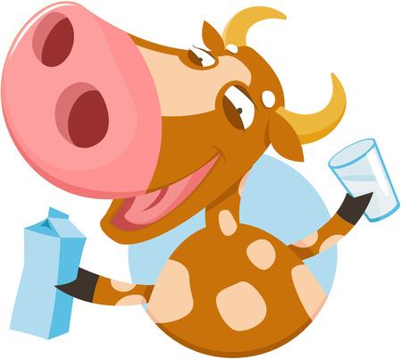 envase de leche: Ilustración del vector de la vaca divertida con leche