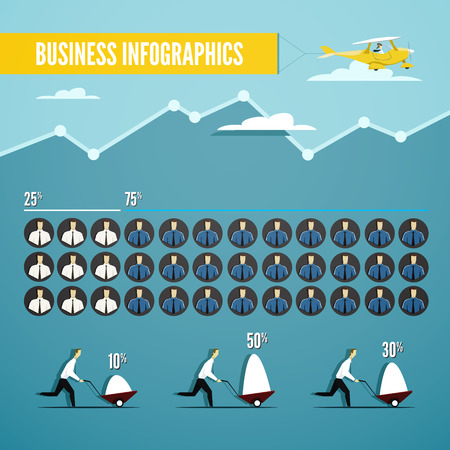 blue collar: Vector business infographics set with illustration of white and blue collar workers. Eps 10 file. Illustration
