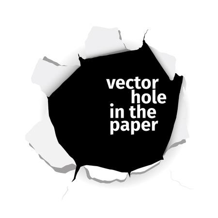 Dziury w papierze wektora na białym tle. EPS 10 plików.