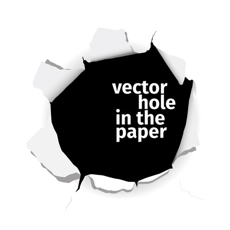 Vector hole in the paper isolated on white background. EPS 10 file. Ilustracja