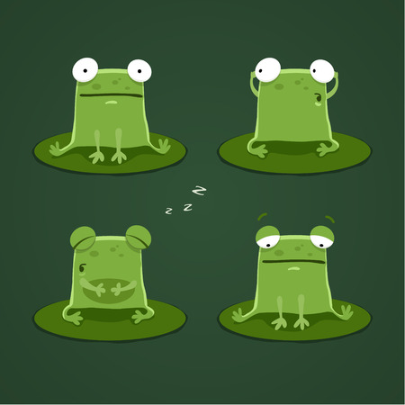 sleeping animals: Funny frogs set one. EPS 10 file.