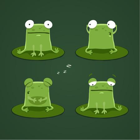 grenouille: Grenouilles drôles mis un. EPS 10 fichier. Illustration