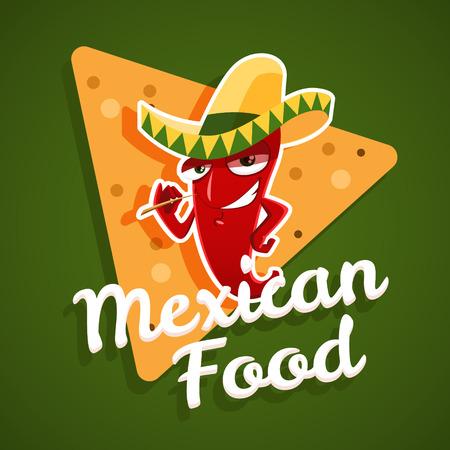 elote caricatura: Vector emblema de comida mexicana con chile rojo y nachos. 10 EPS archivo.