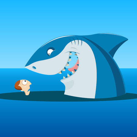 Vector illustration of  Unexpected meeting of shark and man in the sea
