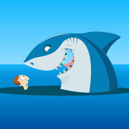 ilustracji wektorowych z nieoczekiwanego spotkania z rekinem i człowieka w morzu