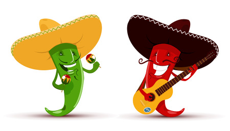 mexican cartoon: Vector illustration of Two funny red and green chili peppers which playing guitar and maracas and singing a song
