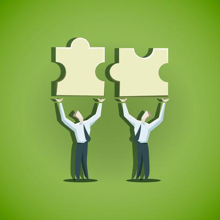 2 つのビジネスマンは、パズルのピースを結合ましょう。EPS 10 ファイル