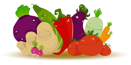 beetroot: Vector illustration of Group of funny cartoon vegetables