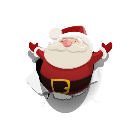 Vector Santa Claus leaned out of the hole in paper isolated on white background.