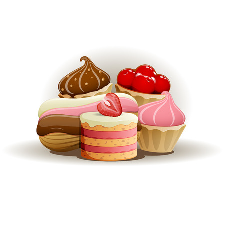 strawberry jelly: Tasty cakes. EPS 10 file Illustration