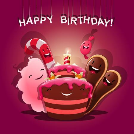 pastel de chocolate: Dulces felicitan - Feliz cumplea�os. EPS 10 archivos