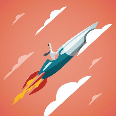 El éxito en los negocios - hombre de negocios está volando en el cohete en el cielo. EPS 10 archivos Ilustración de vector