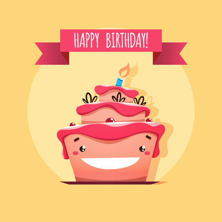 Greeting card with funny Birthday cake. EPS 10 file.