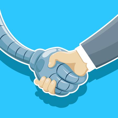 Vector illustration of  Handshake of robot and man