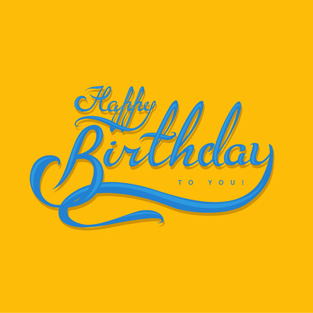 blue vintage background: Happy Birthday calligraphic lettering. EPS 10 file