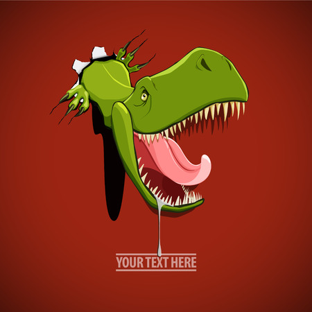 Vector illustration of an angry and hungry dinosaur comes out from the hole in the wall