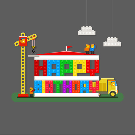game block: Happy Birthday greeting card with builders, truck and builder crane from kids construction building kit. EPS 10 file