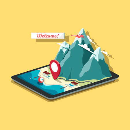 construction icon: Vector isometric map in flat design style. Tablet PC with mobile navigation program. A pin is pointing at the hotel near the sea and rocky mountains. EPS 10 file.