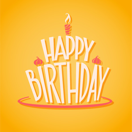 persona alegre: Postal del cumpleaños feliz. EPS 10 archivos