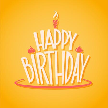 Happy Birthday postcard. EPS 10 file Illustration