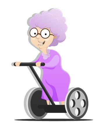 ancianos felices: La abuela en el vehículo de transporte alternativo. EPS 10 archivos