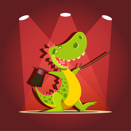 Vector illustration of happy cute cartoon dinosaur at the stage with spotlights Illustration