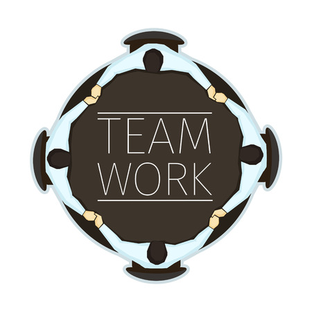 discussing: Vector illustration of team work concept emblem with four office managers sitting at the table. EPS 10 file