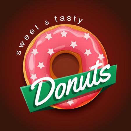 Sweet donut reclame banner. EPS-10-bestand Stock Illustratie