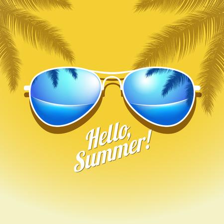 gafas de sol: Vector cartel de verano con las gafas de sol de la palma. EPS 10 archivos