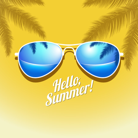 sunglasses reflection: Vector Summer poster with sunglasses palm. EPS 10 file