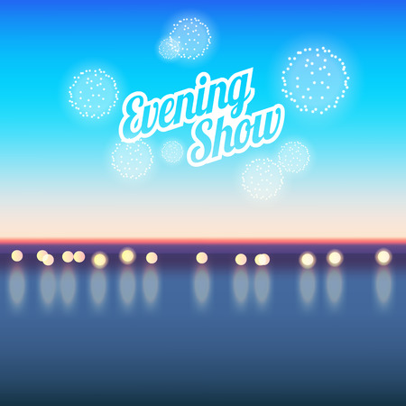 fireworks show: Summer vacation evening show poster with sea and fireworks.