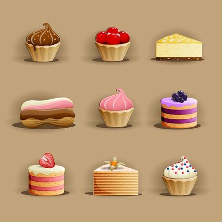 menu de postres: Conjunto de deliciosos pasteles. EPS 10 archivos