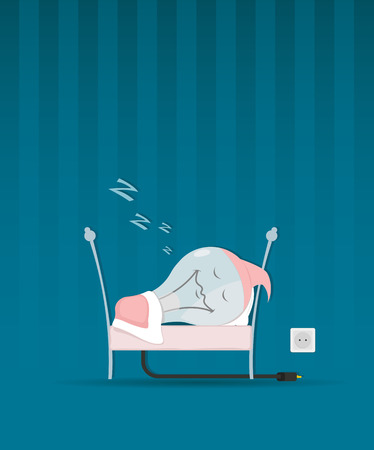 save electricity: Vector illustration of Save energy concept. Bulb is sleeping