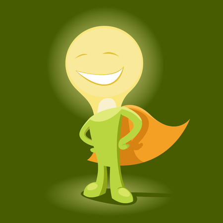 Vector illustration of  Mister Idea is smiling