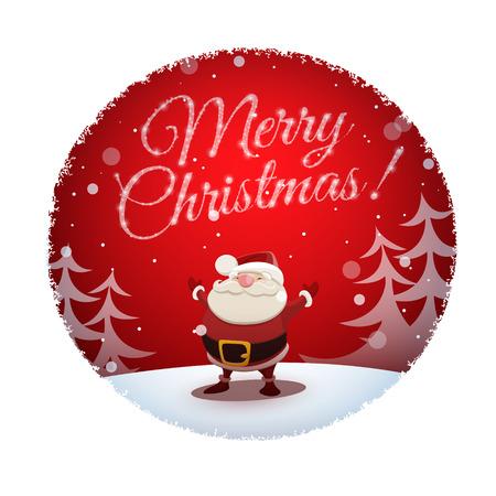 weihnachtsmann lustig: Weihnachtsmann wünscht allen frohe Weihnachten und glückliches neues Jahr. EPS 10-Datei.