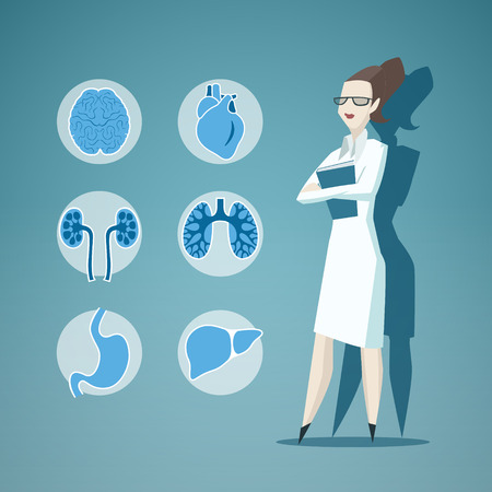 hospital gown: Illustration of Doctor and icons of internals. EPS 10 file.