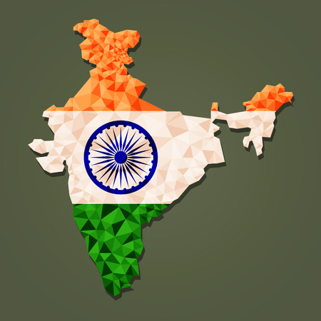 Polygonal vector map of India Çizim