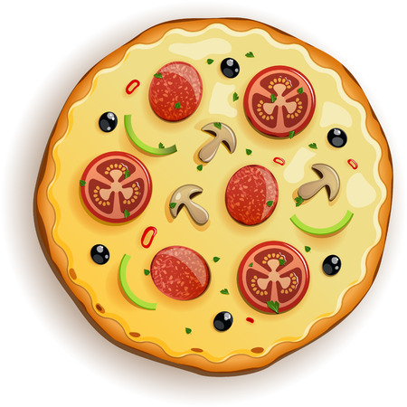 pizza dough: Italian pizza with tomato, sausage and mushrooms. EPS 10 file Illustration
