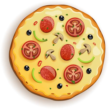 Pizza italiana con pomodoro, salsiccia e funghi. File EPS 10 Vettoriali