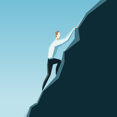 Leadership concept. A businessman is climbing on a top of the mountain.  Illustration