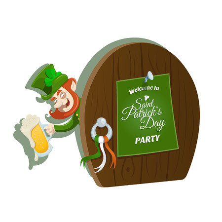look out: Vector illustration of A looking out Leprechaun