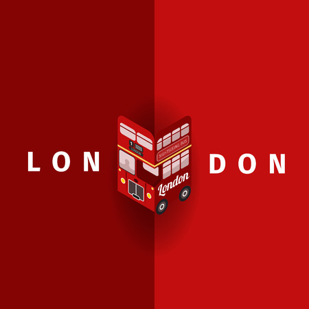 London Vector poster with double decker.  Vector