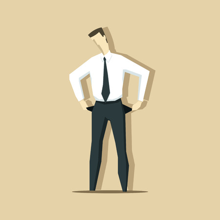 penniless: Vector illustration of businessman with empty pockets. Crisis concept.